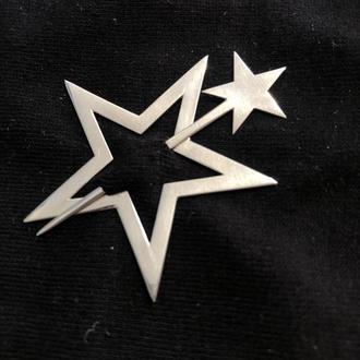 "Брошь ""Звезда"". Серебряная булавка, шпилька, брошка декоративная на подарок"