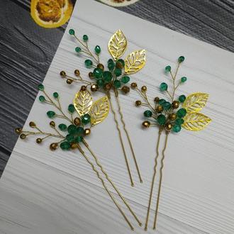 Зелёные шпильки украшение в прическу изумрудное