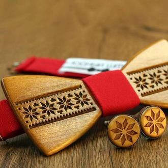"Комплект: дерев'яний метелик + запонки ""Folk"""