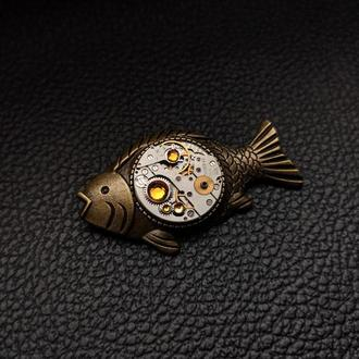 Брошка значок рыбка в стиле steampunk ( в наличии 1шт.)