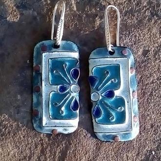 Сережки з переборчатими емалями а стилі Арт-нуво