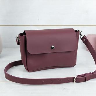 "Кожаная женская сумочка ""Макарун XL"", кожа Grand, цвет бордо"