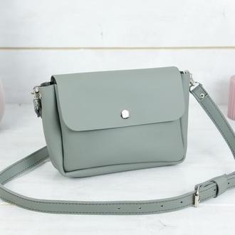 """Кожаная женская сумочка """"Макарун XL"""", кожа Grand, цвет серый"""