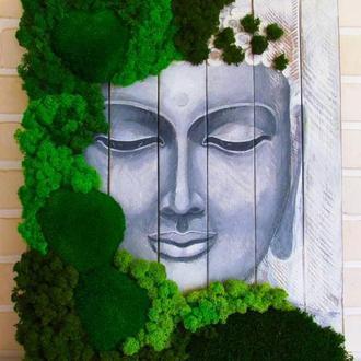 """Картина из дерева и стабилизированного мха """"Улыбка Будды"""""""