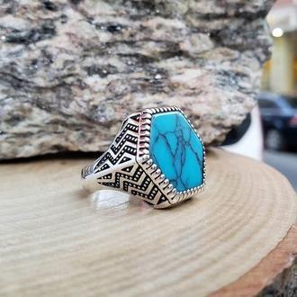 Перстень мужской серебро 925 пробы с камнем Бирюза