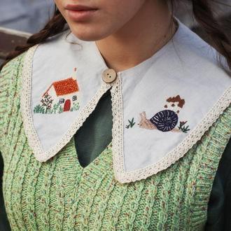 Сьемный воротник с ручной вышивкой, Льняной воротник с кружевом, Подарок для девушки