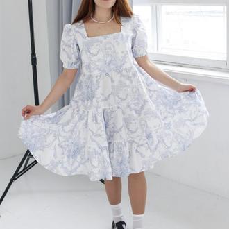 Пышное платье бохо, Мини платье беби долл, Платье в стиле Винтаж, Летнее хлопковое платье