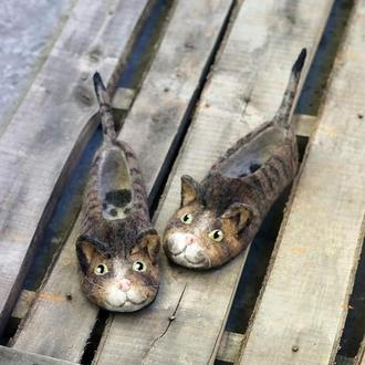 Валяные тапочки Полосатые коты