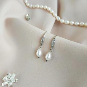 серьги с жемчугом, сережки з перлинами
