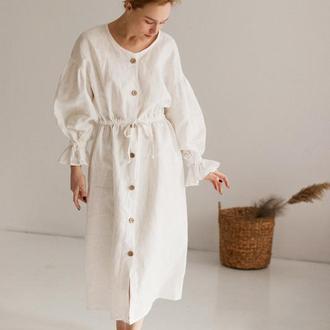 Белое натуральное льняное платье миди в одном универсальном размере, есть наложка