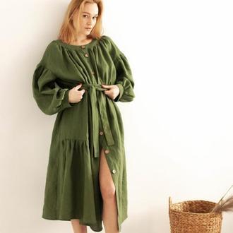 Бежевое натуральное льняное платье миди в одном универсальном размере, есть наложка