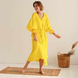 Желтое натуральное льняное платье миди в одном универсальном размере, есть наложка