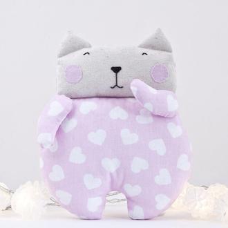 Игрушка котик розовый в сердечки, Подарок на день Святого Валентина, Подарок на день матери