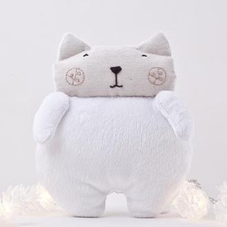 Плюшевый белый котик, Игрушка кот, Подарок на день Святого Валентина, Подарок на день матери