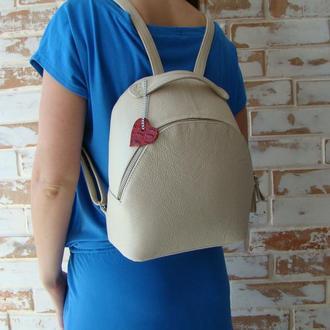 Стильный женский кожаный рюкзак +ключница/ бежевый рюкзак
