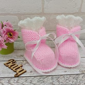 Нарядные пинетки для девочки, вязаные пинетки, пинетки-ботиночки