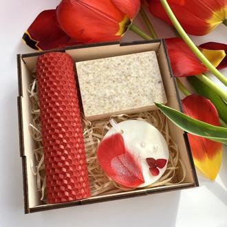 Подарочный набор, подарок на день рождения, свеча, мыло, саше