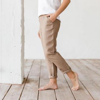 Лляні штани в кольорі капучіно