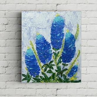 Картина маслом ,голубые цветы