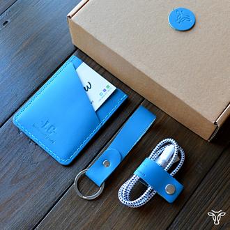 Картхолдер для пластиковых карт из кожи голубого цвета