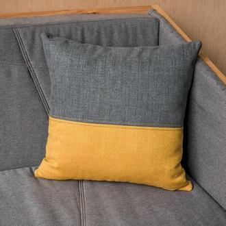 Декоративная подушка желто-серая 45*45 см