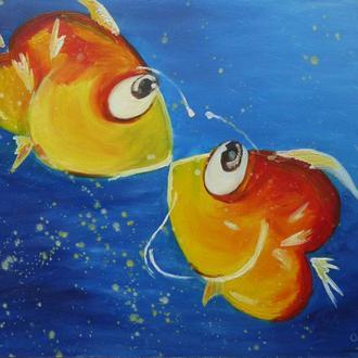 Картина рыбки ,масло, 40*30 см, отлично подойдет в детскую комнату