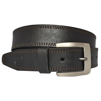 Ремень кожаный мужской черный прошитый с коричневой строчкой для джинсов pamir