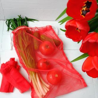 Эко мешок красный, еко мешочки для покупок, эко пакет, сеточка, фруктовка, мішечки zero weste