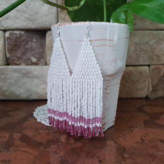 Украшения из бисера, Сережки из бисера ручной работы, Розовые серьги кисти, Серьги кисточки