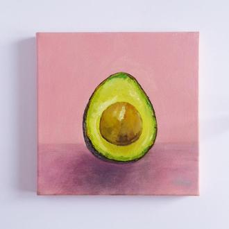 Авторська картина олією, авокадо,поп-арт, 20*20 см