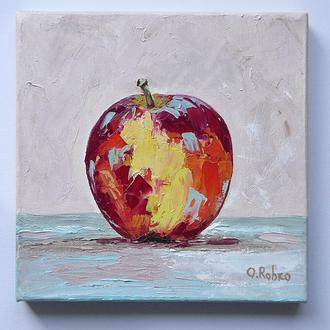 Авторская картина маслом, яблоко, 20*20 см