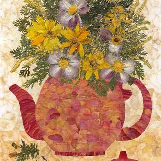 Композиция с чайником (засушенные цветы и листья)