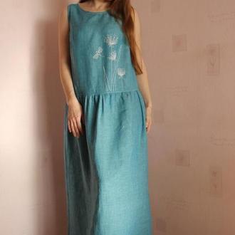 """Платье льняное """"Купальская ночь"""" с ручной вышивкой"""