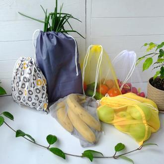 "Эко мешочки, набор эко пакетов ""Птички"" для покупок, фруктовки, мішечки zero west"