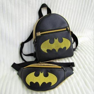 "Модный набор 2 в1 (рюкзак + бананка) handmade ""бэтмен"""