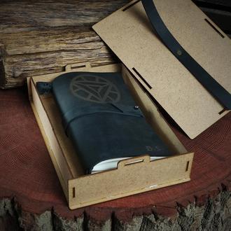 """Кожаный именной блокнот """"Железный Человек"""""""