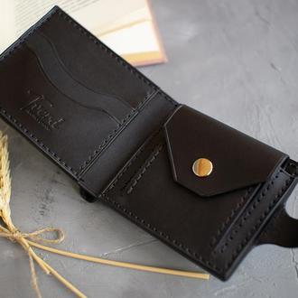Чёрный кожаный портмоне с гравировкой (тиснением) ручной работы