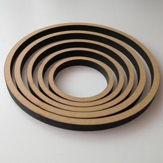 Деревянная заготовка, основа - кольцо для ловца снов, мобиля, кашпо. Диаметр 7 см, толщина 8 мм