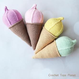 Вязаные игрушки, игрушка мороженое, вязаное мороженое амигуруми, вязаное мороженое