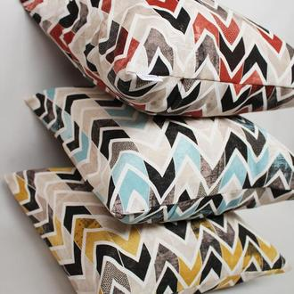 Набір подушок геометрія - 3шт, набор подушек зигзаг желтый, голубой и бордовый