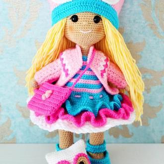 Кукла в розовом платье с совой.  Подарок фанату сов, дочке. Вязаная мягкая игрушка для племянницы.