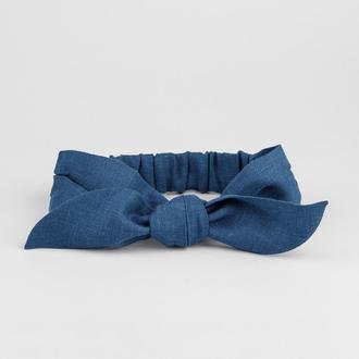 Синя лляна пов'язка на голову