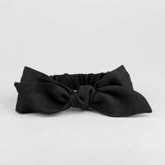 Черная повязка на голову на резинке изо льна
