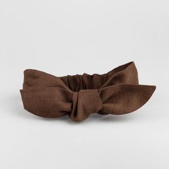 Льняна пов'язка на голову в шоколадному відтінку