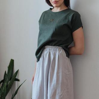 Льняная миди юбка с разрезами, Летняя юбка в стиле минимализм