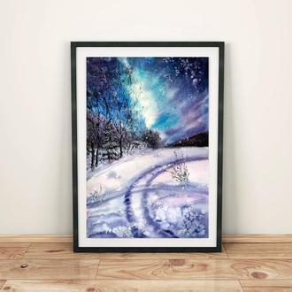 Картина акварелью. Зима. Звёздная Ночь