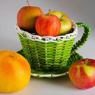 Конфетница, фруктовница плетенная из бумажной лозы, ручная работа