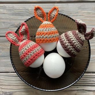 Шапочки-зайчики для яиц, Вязаные шапочки для яиц, Пасхальное украшение, Вязаный декор для праздника