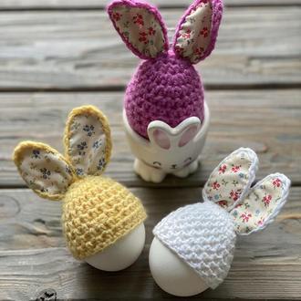 Украшение яиц, Вязаные шапочки-зайчики для яиц, Декор яиц, Пасхальное украшение