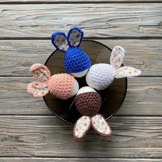 Вязаные шапочки-зайчики для яиц, декор для яиц, Украшение яиц, Пасхальный декор